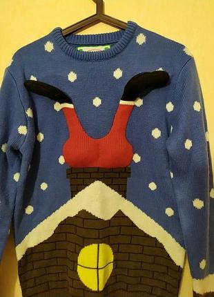 Шикарный натуральный новогодний свитер свитерок санта клаус2 фото