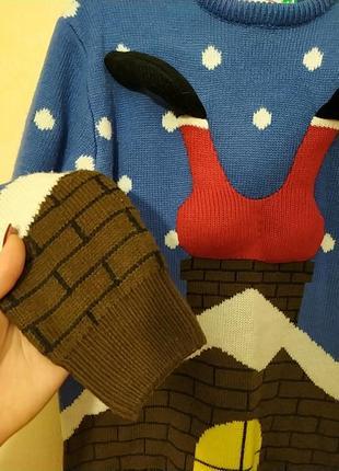 Шикарный натуральный новогодний свитер свитерок санта клаус4 фото
