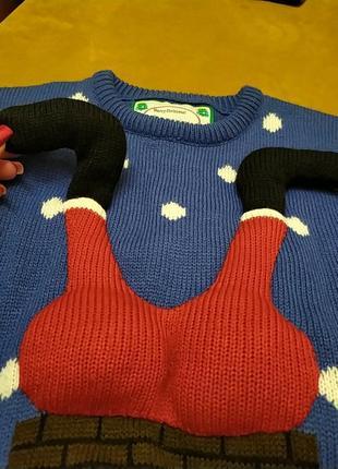 Шикарный натуральный новогодний свитер свитерок санта клаус9 фото