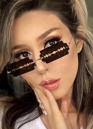 Необычные стильные имиджевые очки лезвия чёрные унисекс для вечеринок