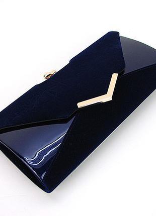 Вечерняя синяя сумка-клатч овальной формы лаково-замшевая