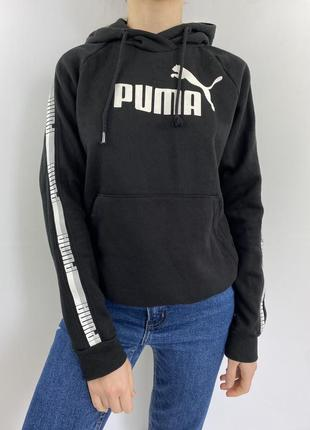 Чёрное тёплое худи с лампасами puma