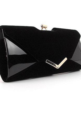 Черная вечерняя сумочка клатч конверт на цепочке лак-замша