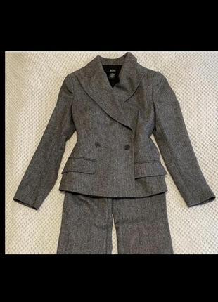 Костюм из мериносовой шерсти, брючный костюм, шерстяной двубортный пиджак, брючный костюм