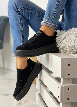 Женские замшевые чёрные кроссовки