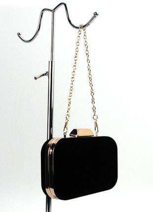 Вечерний черный женский замшевый клатч-бокс на цепочке, цена - 510 ... 128501ff7d2
