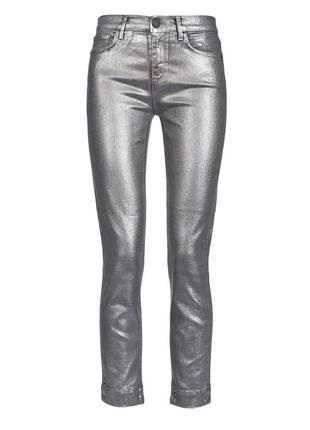 Блестящие джинсы штаны металлик серебро зауженные скинни узкачи denim co