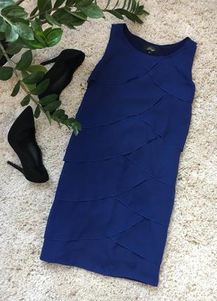 Синее вечернее нарядное коктейльное платье с рюшами