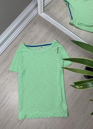 Женская футболка reebok рибок майка оригинал зелёная спортивная спорт фитнес