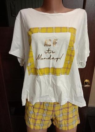 Пижама клетка шорты футболка в крутой принт