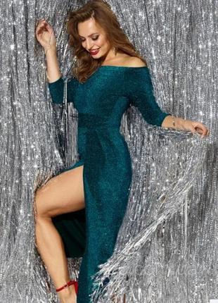🌟праздничное вечернее платье с разрезом люрекс блестящее🌟