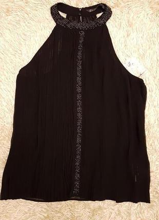 Плиссированная шифоновая блузка zara с бисером