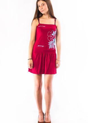 Платье мини женское красное с цветочной накаткой billabong (m)