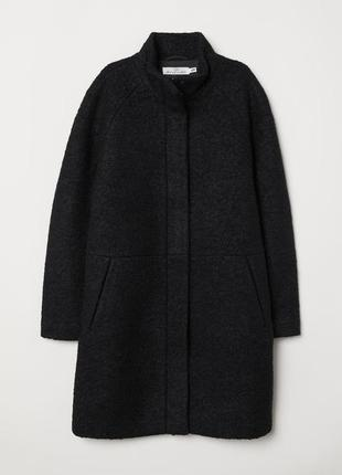 Шерстяное теплое пальто h&m