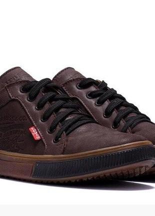 Кожаные мужские кроссовки levis коричневые