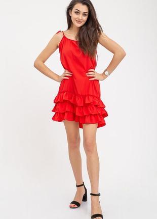 Красный сарафан, xs-s-m-l, 112r412, платье, платьице с воланом, с рюшами, с оборками