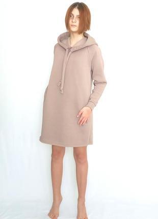 Платье утепленное флисом женское(молодежное) с боковыми карманами