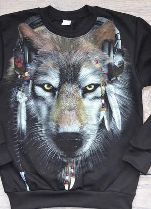 """✅джемпер со светящимся в темноте рисунком """"волк в наушниках"""" 128-134"""
