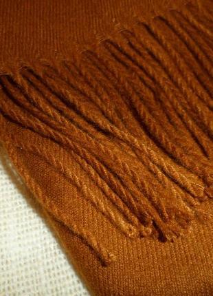 Кашемировый зимний шарф палантин горчица