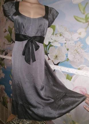 Романтичное шёлковое платье пепельного цвета100% натуральный шелк 12р.