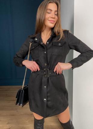 Замшева сукня-сорочка🔥замшевое платье рубашка с накладными карманами под пояс черное