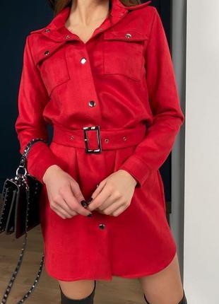 Замшева сукня-сорочка🔥замшевое платье рубашка с накладными карманами под пояс красное