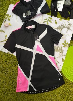 Чорна з рожевими вставками вело футболка