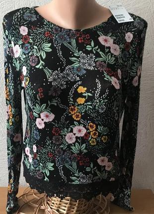 Свитшот кофта черная цветочный принт оверсайз от h&m