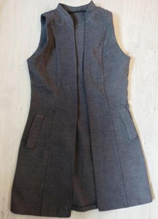 Стильный серый жилет / пальто без рукавов s-m