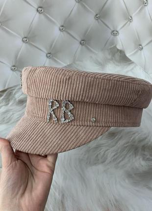 Женский картуз, кепи, фуражка вельветовая rb розовая4 фото