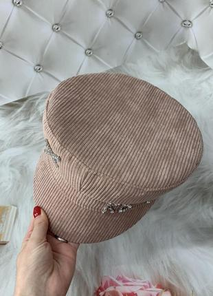 Женский картуз, кепи, фуражка вельветовая rb розовая5 фото
