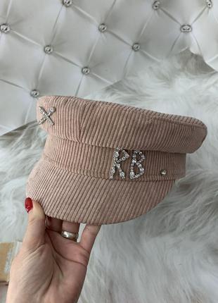 Женский картуз, кепи, фуражка вельветовая rb розовая1 фото