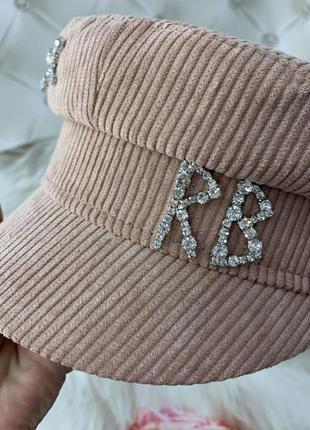 Женский картуз, кепи, фуражка вельветовая rb розовая3 фото