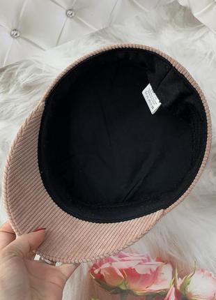 Женский картуз, кепи, фуражка вельветовая rb розовая6 фото