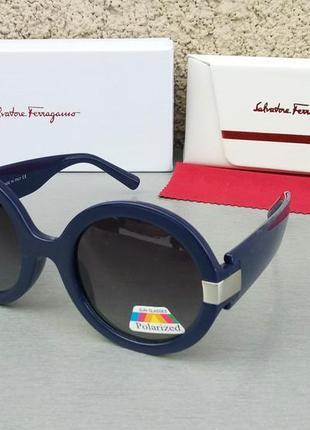 Salvatore ferragamo очки женские солнцезащитные круглые синие с градиентом