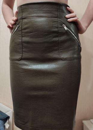 Кожаная юбка zara basic