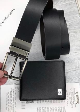 Мужской ремень и портмоне calvin klein / подарочный набор / кошелек / на подарок мужчине