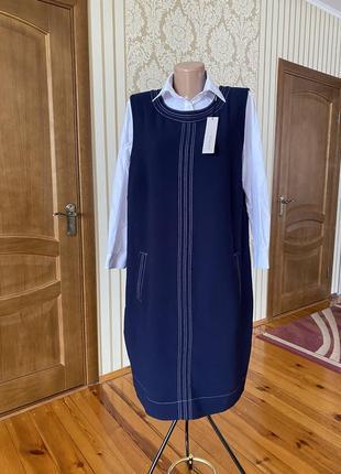 Красивенное платье сарафан офис классика нарядное с карманами