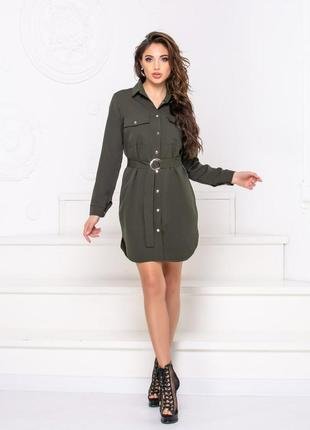 Платье-рубашка женское на кнопках короткое с поясом длинный рукав
