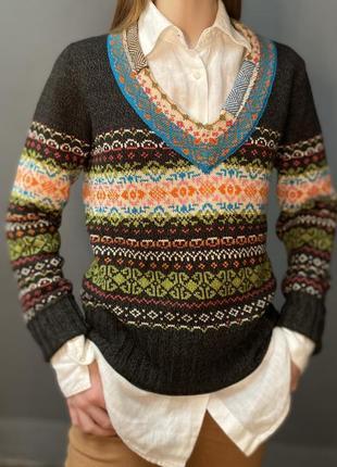 Винтажный пуловер v-образный вырез жаккард пэчворк шерсть