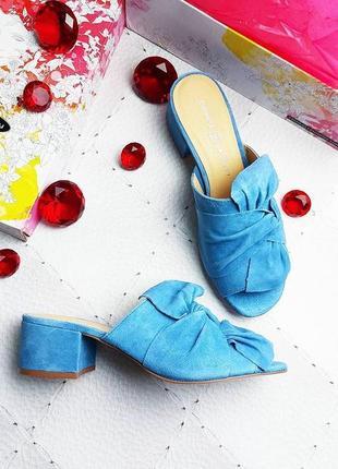 Chinese laundry оригинал голубые замшевые босоножки сабо на широком каблуке