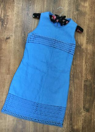 Шикарное льняное платье футляр от бренда next