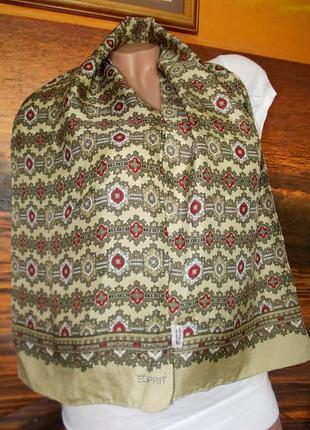 Винтажный шарф esprit 130х26см 100% натуральный шелк