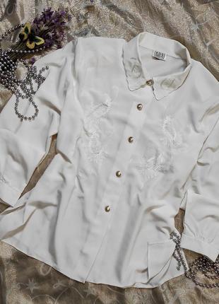 Винтажная белая блуза с вышивкой uk 20