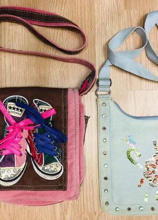 Набор комплектом сумка сумочка кросс боди молодежная джинсовая