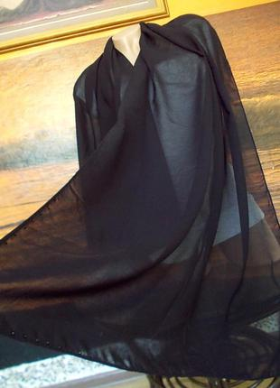 Распродажа! шарф со стразиками черного цвета 160х67см