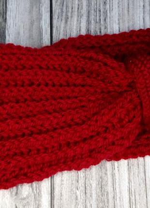Красная повязка на голову - вязаная повязка на голову