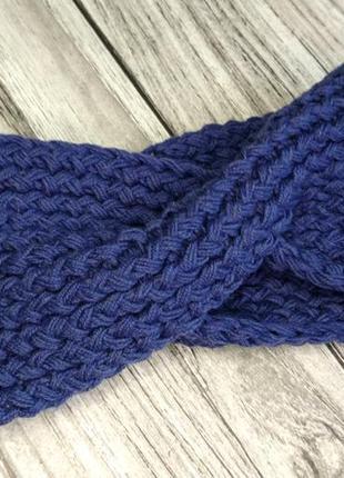 Синяя повязка на голову - вязаная повязка на голову