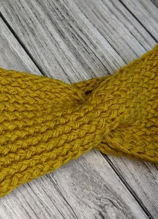 Желтая повязка на голову - вязаная повязка на голову