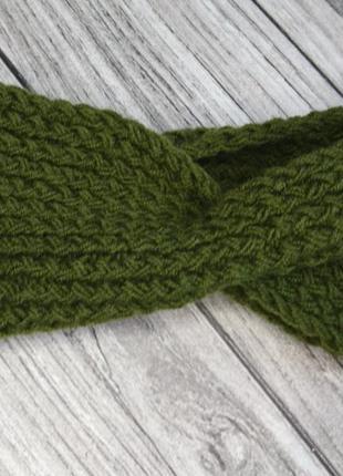 Зеленая повязка на голову - вязаная повязка на голову